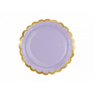 Assiette carton lilas et doré
