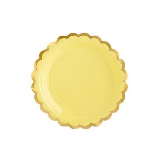 Assiette carton jaune et doré