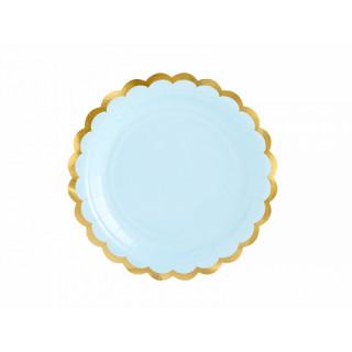 Assiette carton bleu ciel et doré