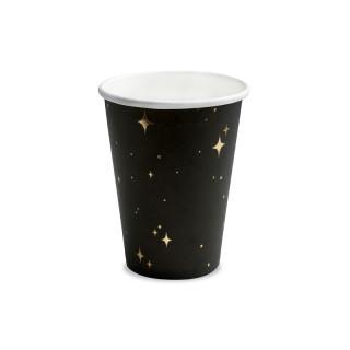 Gobelet Carton Noir étoiles Or