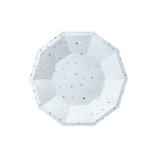 Assiette carton blanche étoiles or