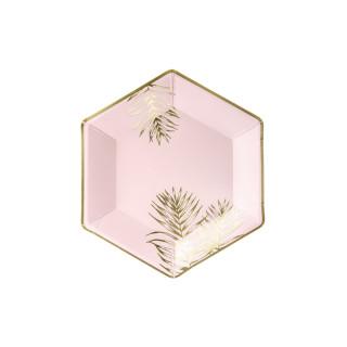 Assiette carton rose et or