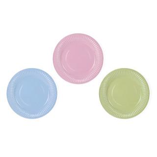 Assiette bleu rose et vert