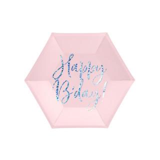 Assiette carton rose anniversaire