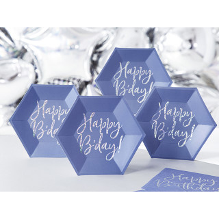 Assiette carton bleu anniversaire