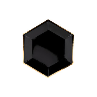 Assiette Carton noir et or