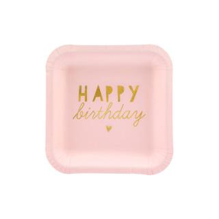 Assiette carton anniversaire rose et or