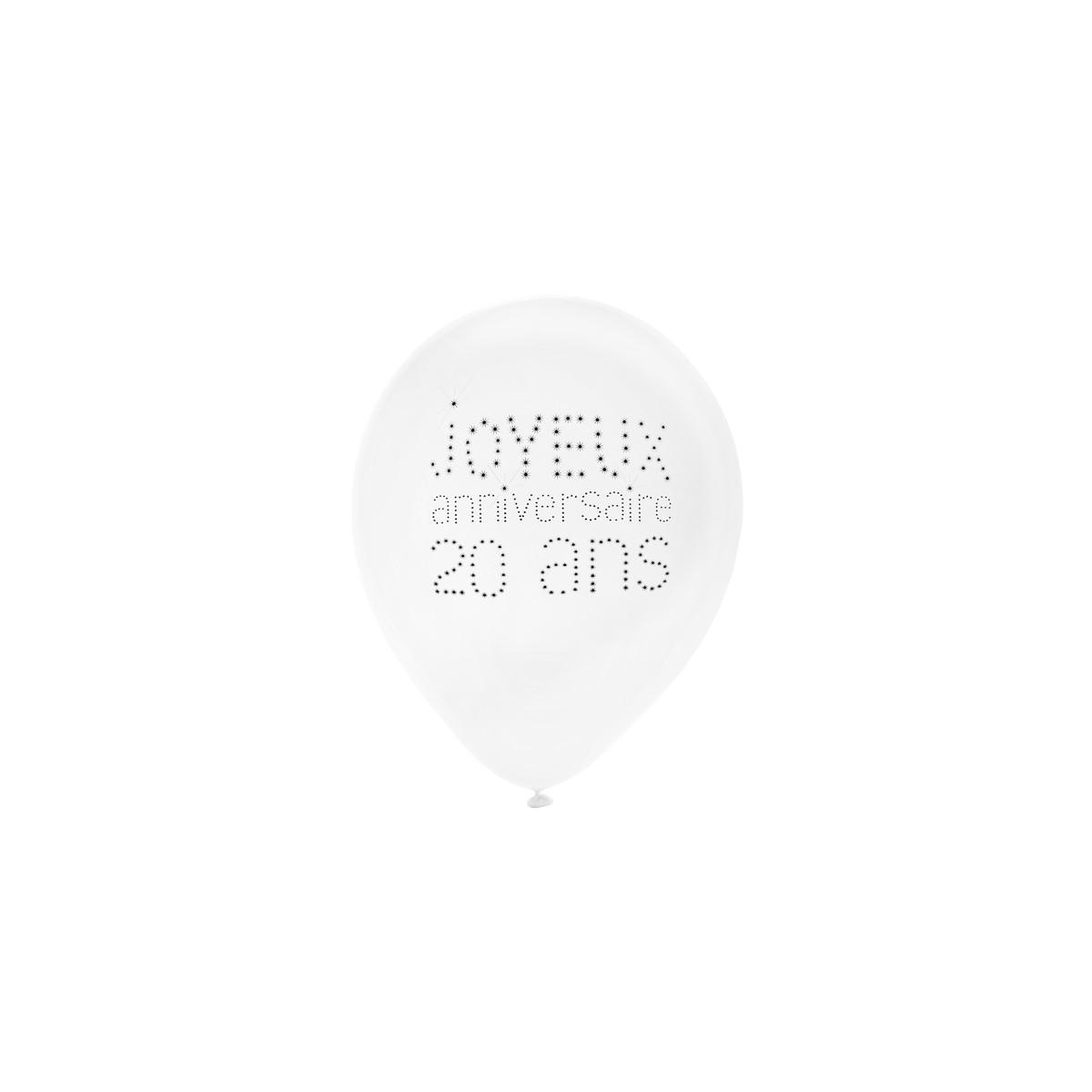 Ballon de Baudruche Anniversaire 20 ans x 8