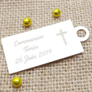 x1 Etiquette rectangle croix personnalisée