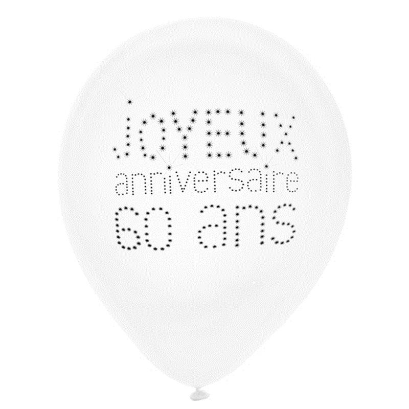 Ballon de Baudruche Anniversaire 60 ans x 8