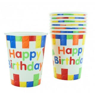 x10 Gobelets cube Happy Birthday